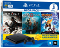 Console Sony PS4 Playstation 4 Slim 1TB com Ghost of Tsushima / God of War / Ratchet Clank + 3 Meses PSN Plus