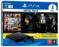 Console Sony PS4 Playstation 4 Slim 1TB com GTA 5 / Death Stranding / The Last of US + 3 Meses PSN Plus