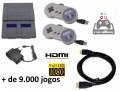 Console SNES Mini com + de 9.000 Jogos e 2 Controles com Fio USB - Sistema Recalbox Raspberry Pi3