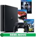 Console PS4 Playstation 4 Slim 500GB Semi Novo com 3 Jogos Mídia Física Semi Novos ( consultar títulos disponíveis na loja )